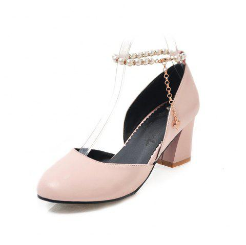 Round Toe Pure Color Pearl Chain Chunky elegant Lady Sandals - PINK EU 39