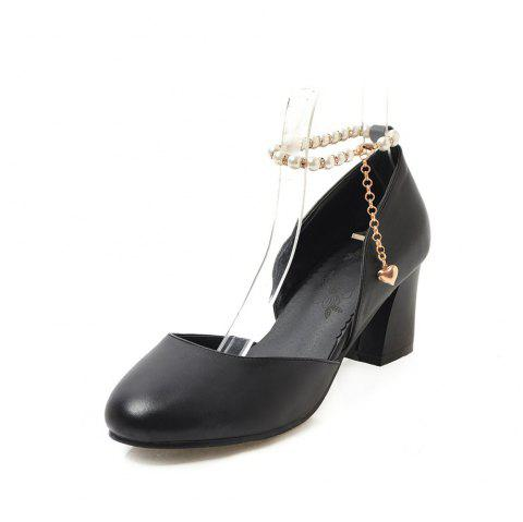 Round Toe Pure Color Pearl Chain Chunky elegant Lady Sandals - BLACK EU 42