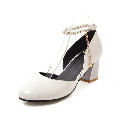 Round Toe Pure Color Pearl Chain Chunky elegant Lady Sandals - WHITE EU 39