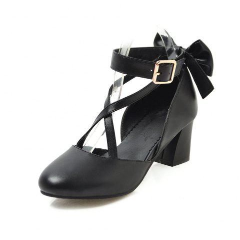 Round Toe Pure Color A Belt Buckle Bowknot Chunky Sweet Lady Sandals - BLACK EU 43