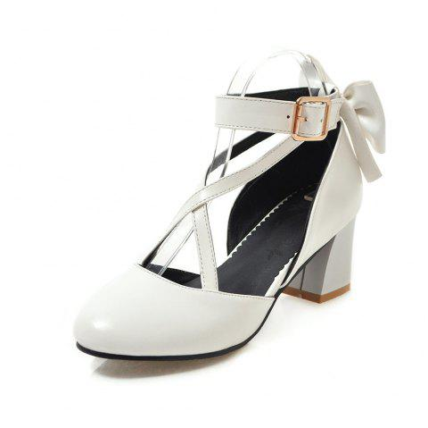 Round Toe Pure Color A Belt Buckle Bowknot Chunky Sweet Lady Sandals - WHITE EU 34
