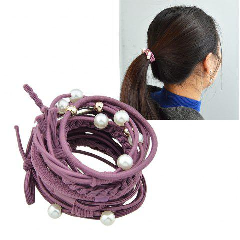 Colorful Rope With Simulated-pearl Bowknot Headbands 12PCS/Set - PLUM PIE