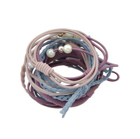 Colorful Rope With Simulated-pearl Bowknot Headbands 12PCS/Set - THREE SAND CAMOUFLAGE