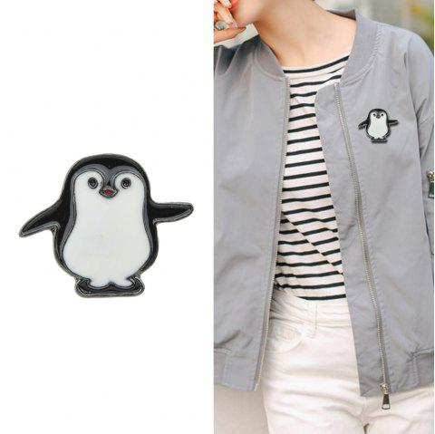 Black White Enamel with Penguin Brooch - BLACK