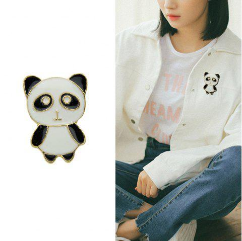 Black White Enamel with Panda Brooch - BLACK