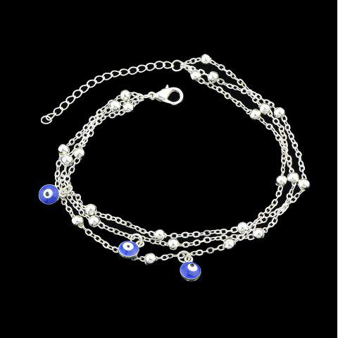 Gold Silver Color Chain With Eye Anklets 1PC - SILVER