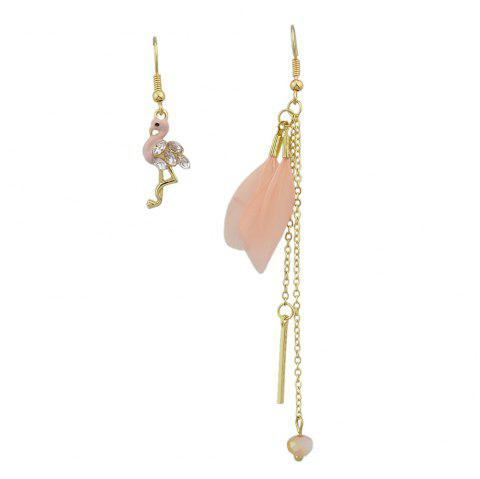 Colorful Feather with Flamingo Asymmetric Earrings - DEEP PEACH