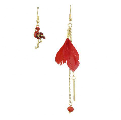 Colorful Feather with Flamingo Asymmetric Earrings - RED