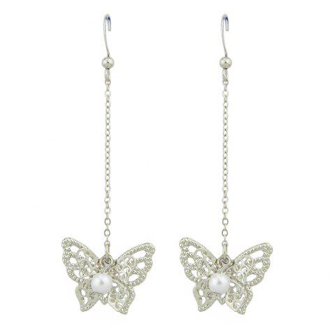 Gold Silver with Simulated-pearl Butterfly Dangle Earrings - SILVER