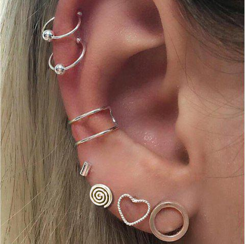 Silver Color With Heart Circle Stud Earrings Ear Clip 7PCS/Set - SILVER