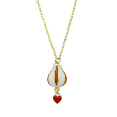Gold Chain with Enamel Balloon Heart Pendant Necklace - GOLD