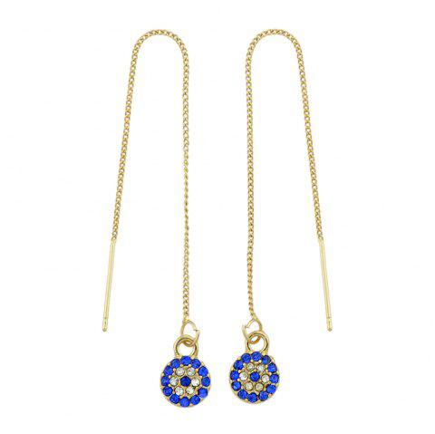 Gold-Color Long Chain with Eye Hanging Earrings - GOLD