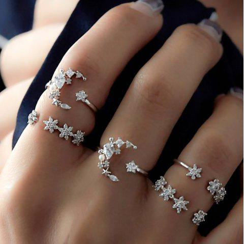Silver Color With Rhinestone Geometric Rings 5PCS/Set - SILVER ONE SIZE