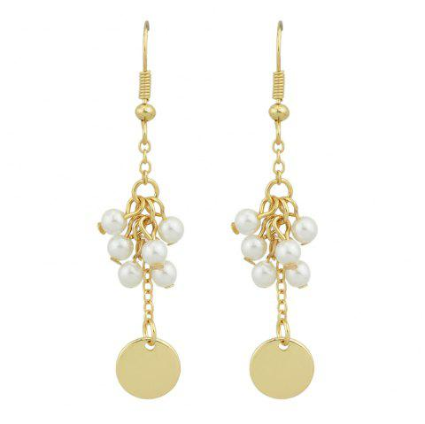 Gold-Color with Simulated-pearl Round Dangle Earring - GOLD