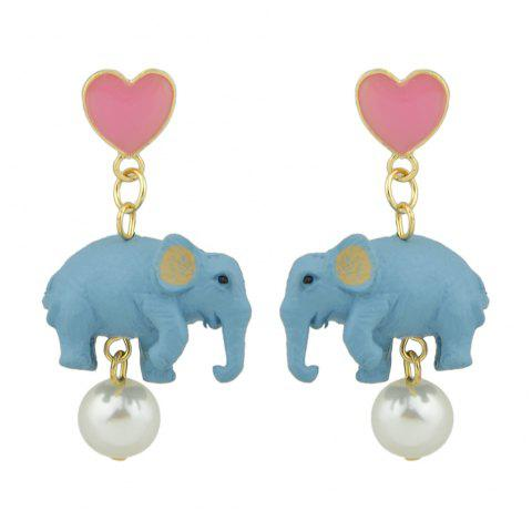 Simulated-pearl with Heart Star Elephant Drop Earrings - ROSE RED