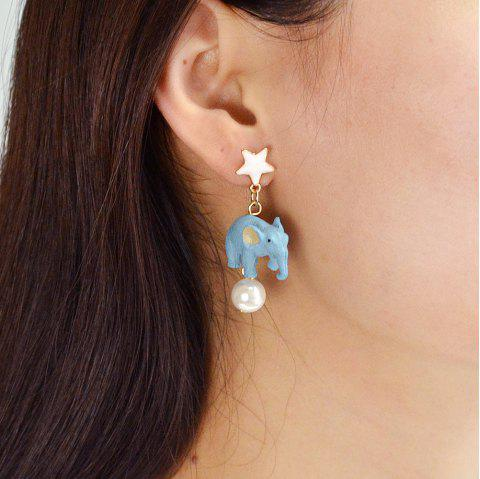 Simulated-pearl with Heart Star Elephant Drop Earrings - WHITE