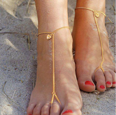 Gold Silver Color Chain with Heart Rhinestone Slave Anklets 1PC - GOLD