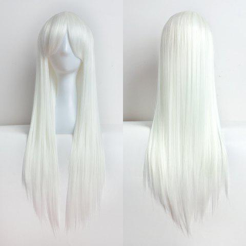 Female Mid-Length Straight Silver White Hair Style Role-Playing Wig - SILVER 1PC