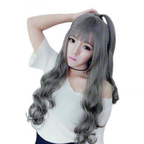 Grandma Gray Air Bangs Long Roll Personality Wig - LIGHT GRAY 1PC