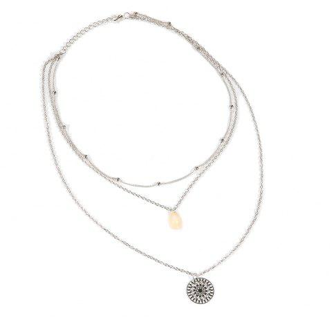 Cool Personality Shells Beads Sun Multi-Layer Necklace - SILVER 1PC