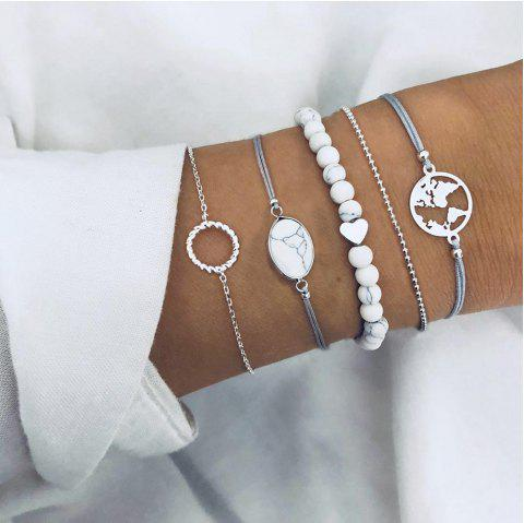 Round Cracked Pine Stone Bead Chain Map Hollow Ring Bracelet Five-Piece - SILVER 5PCS