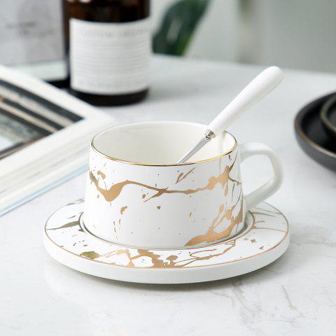 Ceramic Marbling Afternoon Tea Coffee Cup - WHITE 15*15*6CM