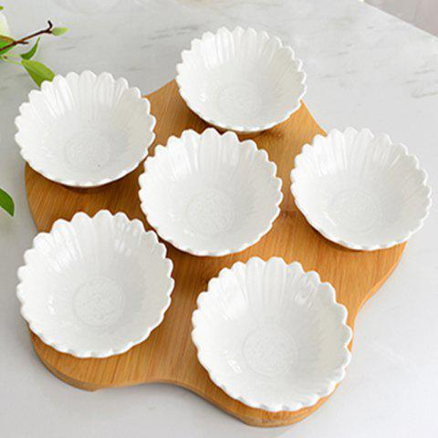 Ceramic Sauce Dish with Fruit Dessert Bowl - WHITE