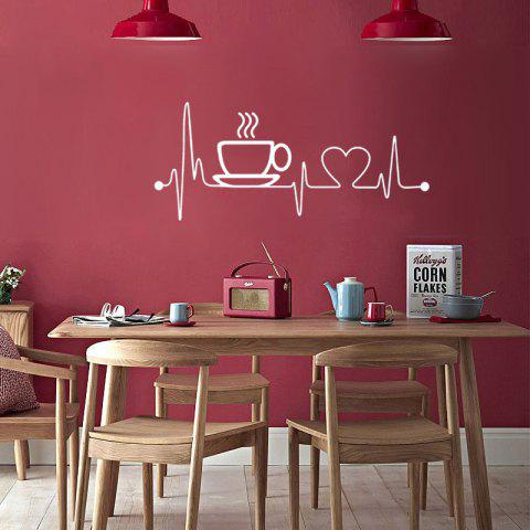 Creative Coffee Cup Removable PVC Wall Sticker - WHITE 58X26CM