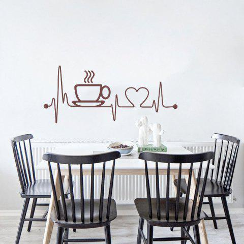 Creative Coffee Cup Removable PVC Wall Sticker - BROWN 58X26CM