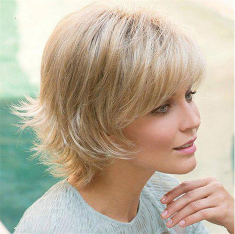 European and American Wig Female Short Straight Hair Rose Net Wig - CHAMPAGNE GOLD
