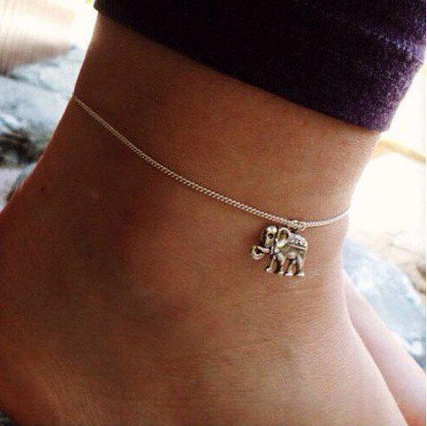 Gold Silver Color Chain With Elephant Charm Anklets 1PC - SILVER