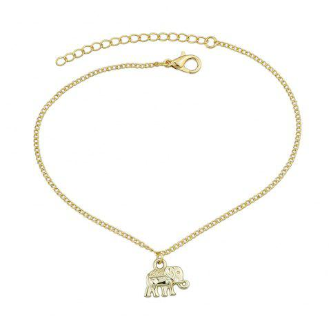 Gold Silver Color Chain With Elephant Charm Anklets 1PC - GOLD