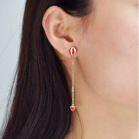 Gold-Color with Heart Balloon Asymmetric Earring - GOLD