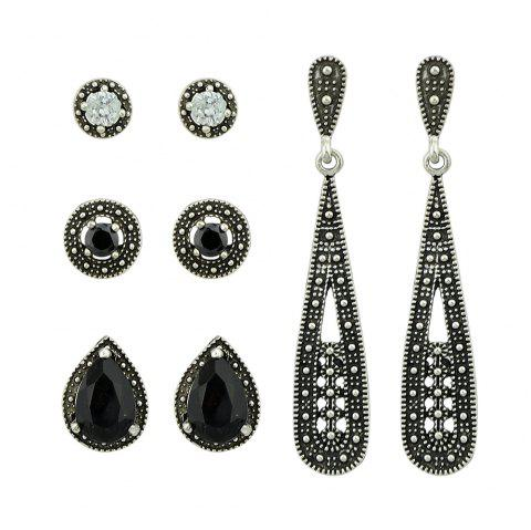 Gunblack Color with Black Stone Stud Dangle Earrings 4 Pairs/Set - SILVER