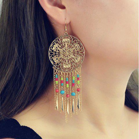 Fashionable Gold and Silver Bohemian Long Tassels Earrings - GOLD