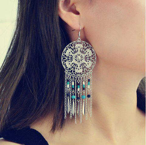 Fashionable Gold and Silver Bohemian Long Tassels Earrings - SILVER