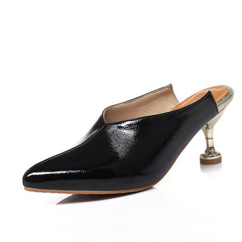 Shoes with Pointed Head and Thin Middle Heel - BLACK EU 37
