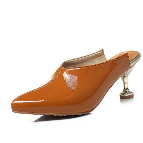 Shoes with Pointed Head and Thin Middle Heel - LIGHT BROWN EU 34