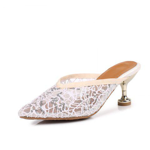 Screen Breathable Pointed Thin Heel Simple Sandals - WARM WHITE EU 38