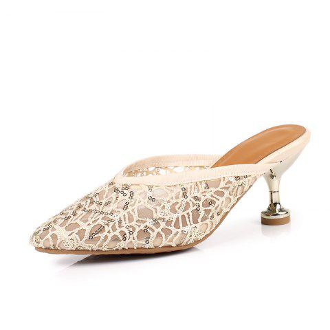 Screen Breathable Pointed Thin Heel Simple Sandals - BEIGE EU 36