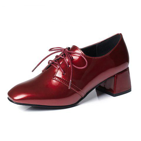 Square Headed Thick Heeled Casual Cow Tendon Shoes - RED WINE EU 35