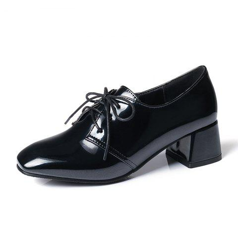 Square Headed Thick Heeled Casual Cow Tendon Shoes - BLACK EU 36