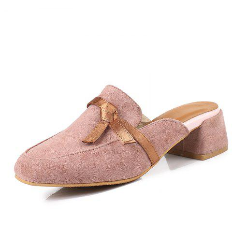 Butterfly-Knot Casual Sandals for Students with Rough Heels in Summer - LIGHT PINK EU 39