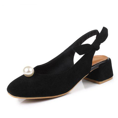 Bow Tied Women Shoes with Square Head and Pearl - BLACK EU 37