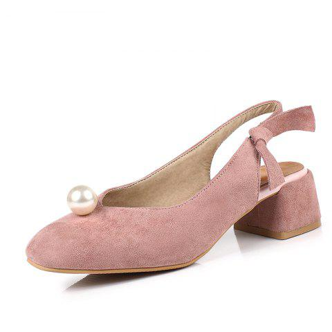 Bow Tied Women Shoes with Square Head and Pearl - LIGHT PINK EU 38