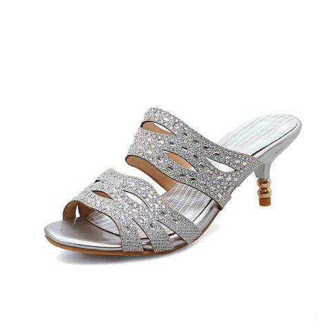 Fine Heeled Water-Drilled Dew Heeled Fish Mouth Sandals - SILVER EU 34