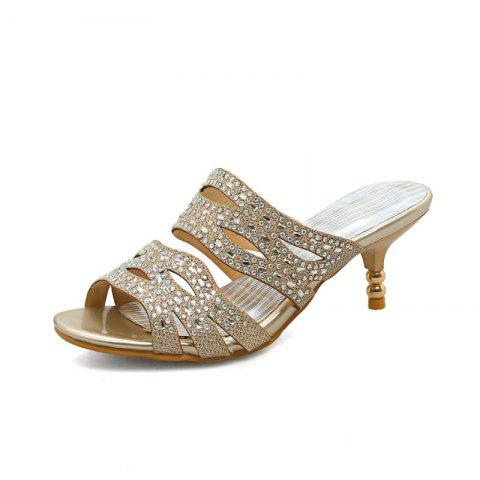 Fine Heeled Water-Drilled Dew Heeled Fish Mouth Sandals - GOLD EU 39