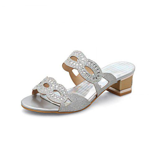 Rough Heeled Water Drill with Hollow Sandals - SILVER EU 36