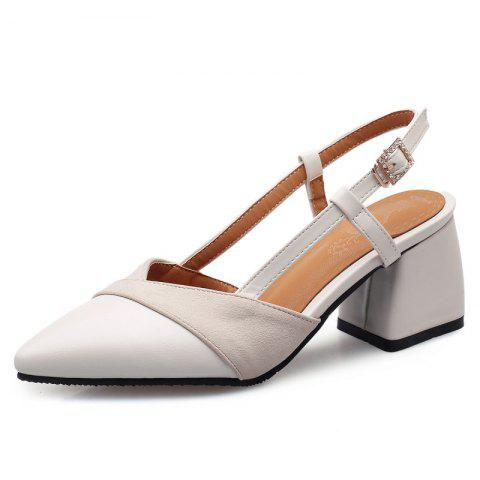 Stitching Sandals with Pointed Outcrop and Buckle - BEIGE EU 37