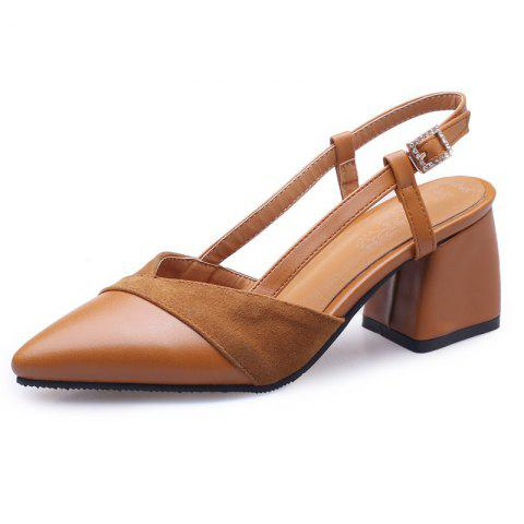 Stitching Sandals with Pointed Outcrop and Buckle - BROWN EU 43